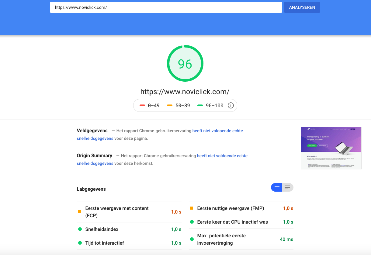 google pagespeed noviclick